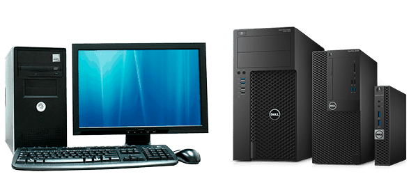 старый компьютер и офисные системные блоки