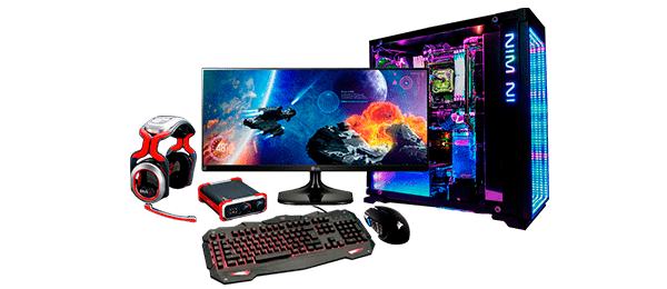 компьютер с монитором, мышка, клавиатура и наушники